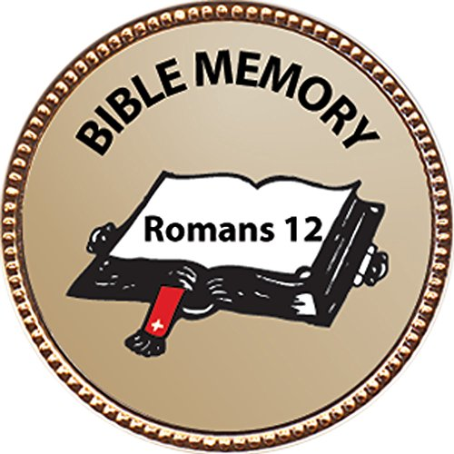 Romans 12 Bible Memory Award, 1 Inch Dia Gold Pin  Bible Memory Achievements Collection  By Keepsake Awards