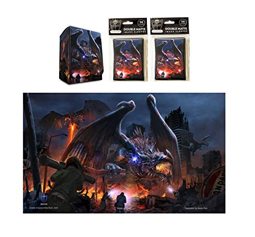 Hasta La Vista Dragon Invasion Playmat, Deck Box + 100 Double Matte Sleeves (Fits Mtg, Pokemon, Force Of Will Cards)