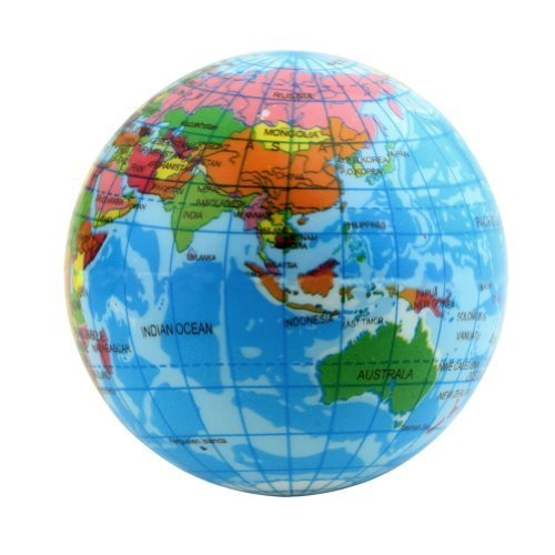 World Map Foam Earth Globe Stress Relief Bouncy Ball Atlas Geography Toy, 2.36 Inch