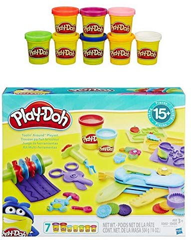 Pd Play-Doh Toolin Around Playset + Play-Doh Rainbow Starter Pack Bundle