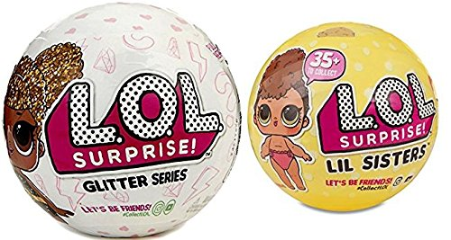 L.O.L. Surprise Set Of 2, Includes 1 Lol Glitter Series Ball And 1 Lol Lil Sistersseries 3 Ball