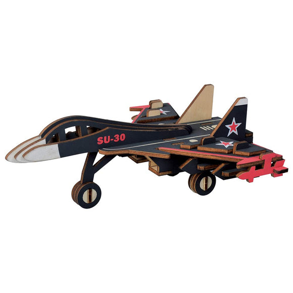 Tommot 3D Wooden Puzzle,Educational Toys For Children,Building Toy, Su-30 Aircraft Model Kits
