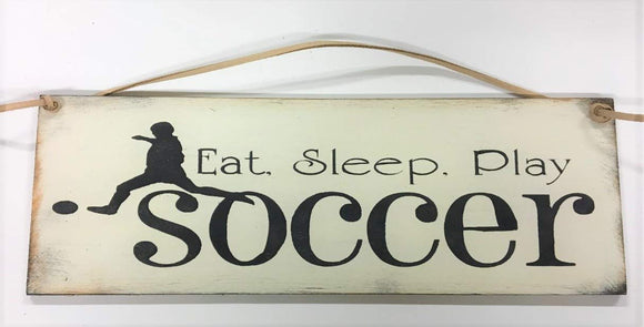 The Little Store Of Home Decor Eat Sleep Play Soccer Boys Sports Bedroom Hand Stenciled Wooden Wall Art Sign