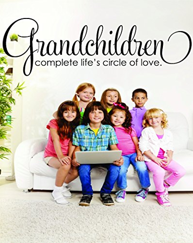 Wall Decal Sale : Grandchildren Complete Life'S Circle Of Love Family Grandmother Grandfather Grandma Grandpa Quote Size: 14 Inches X 28 Inches - 22 Colors Available