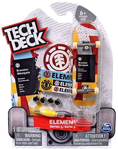 Tech Deck Series 5 Element Skateboards Wind Water Fire Earth Brandon Westgate Fingerboard (Rare)