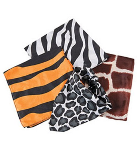 Dozen Assorted Safari Animal Print Bandannas