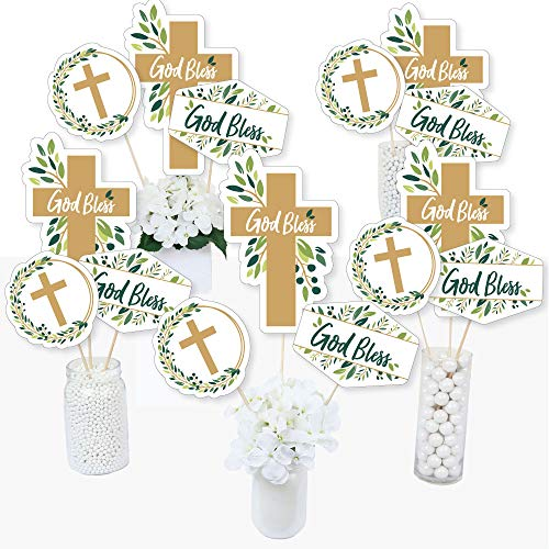 Elegant Cross - Religious Party Centerpiece Sticks - Table Toppers - Set Of 15