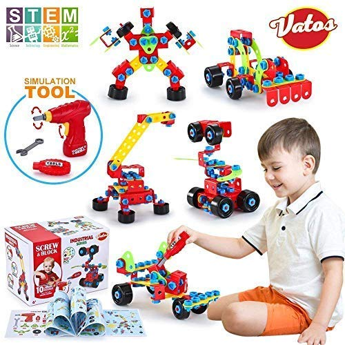 Vatos Building Blocks Toy For Kids, Stem Toys 550 Piece Building Blocks &Amp; Screw Toy For 5, 6, 7, 8+ Year Old Educational Birthday &Amp; Christmas Toy For Boys &Amp; Girls |Take-A-Part Toys