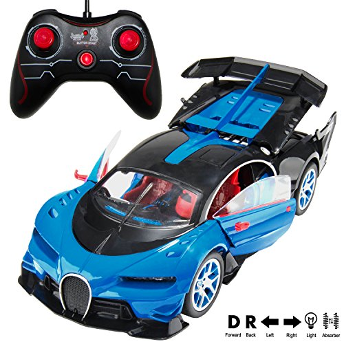 Ebigvalue 2.4Ghz Rc Super Racing Sports Blue Car Veyron [1:14 Scale] With Sound And Go Forward &Amp; Backward, Turn Left &Amp; Right (4 Channel)