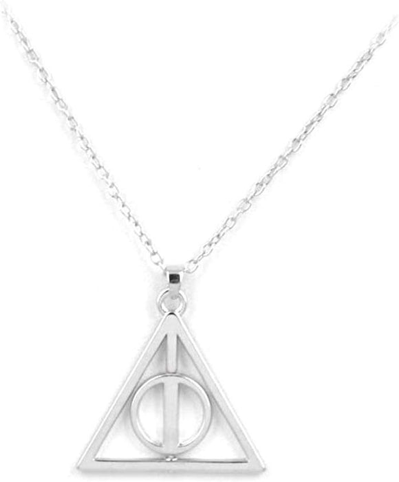 Silver Deathly Hallows Necklace, Harry Potter Inspired, Fandom Necklace, Potter Fan!