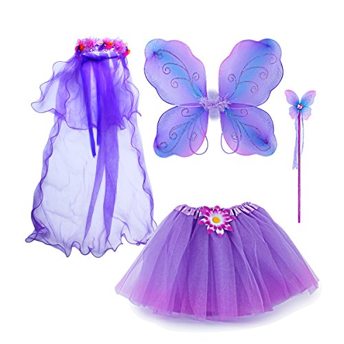 Sinuo Fairy Costume, Costume Set With Wings,Tutu,Wand And Veil Princess Set Fit Girls Age 3-8(Purple)