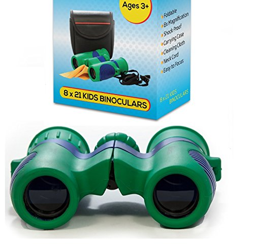 Kidwinz Shock Proof 8X21 Kids Binoculars Set High Resolution Real Optics - Bird Watching - Presents For Kids - Children Gifts - Boys And Girls - Outdoor Play - Hunting - Hiking - Camping Gear