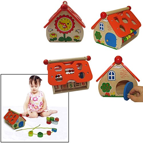 Christmas Wooden Toy House Playset With Counting Abacus And Stackable Fruit Shaped Blocks - Assorted Wooden House Educational Activity Center With Abacus Counting Beads And Blocks
