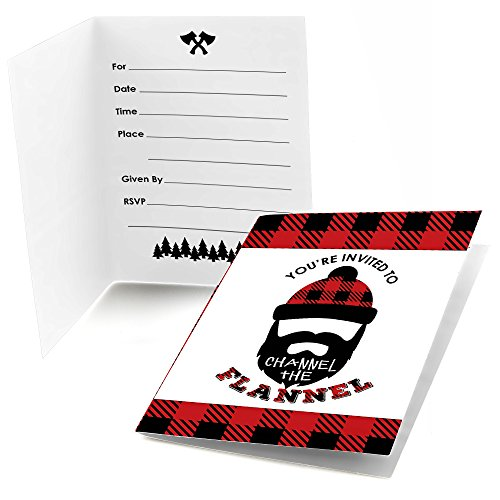 Big Dot Of Happiness Lumberjack - Channel The Flannel - Fill In Buffalo Plaid Party Invitations (8 Count)