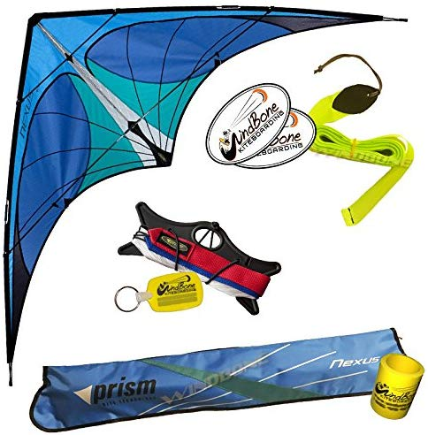 Prism Nexus Dual Line Delta Framed Stunt Kite With 40' Tail Bundle (3 Items) + Prism 40Ft Ripstop Streamer Tail Yellow + Windbone Kiteboarding Lifestyle Stickers + Key Fob (Blue)