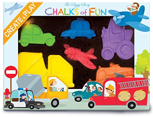The Piggy Story Chalks Of Fun 'Crazy Car Town' 6-Piece Shaped Colored Chalk Set