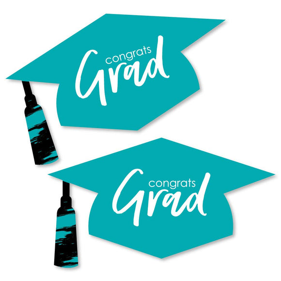 Teal Grad - Best Is Yet To Come - Graduation Hat Decorations Diy Turquoise Graduation Large Party Essentials - 20 Count