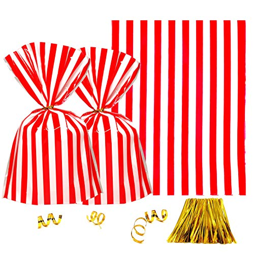 Clear Plastic Cellophane Treat Bags - Red White Stripes Party Favors Cello Bags Wedding Baby Shower Birthday Carnival Party Cookie Candy Treat Favors Bags, 200P