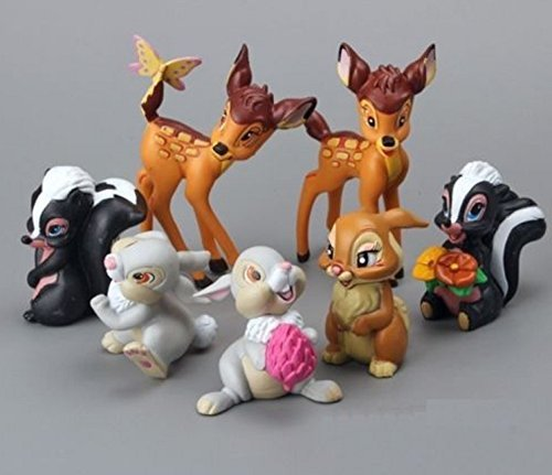 Bambi Thumper Flower Playset 7 Figure Cake Topper Toy Doll Set