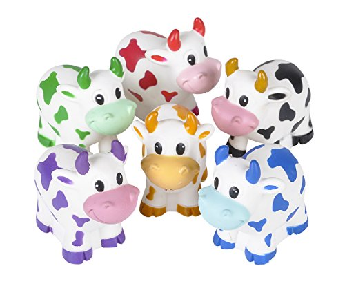 Mozlly Multipack - Rhode Island Novelty Assorted Colorful Rubber Cow Water Squirters - 2 Inch - Learning Toys - Bathtime Fun - Bulk Party Favors (12Pc Set)
