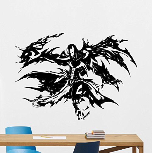 Spawn Wall Vinyl Decal Marvel Comics Superhero Wall Sticker Video Game Gaming Wall Decor Cool Wall Art Kids Teen Room Wall Design Modern Bedroom Wall Decor Mural 154Zzz