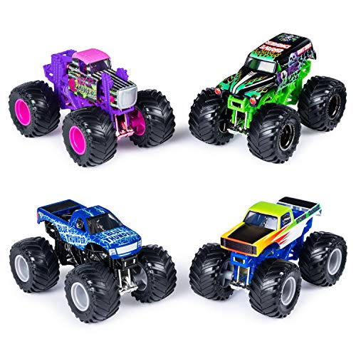 Monster Jam Official Die-Cast 1:64 Scale Double (Blue Thunder, Storm Damage, Grave Digger, Wild Flower)