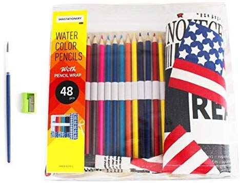 Skkstationery 48 Pcs Watercolor Pencils, Bonus Pencil Wrap Worth $6.99, Travel Drawing Coloring Pencil Roll Organizer For Artist.