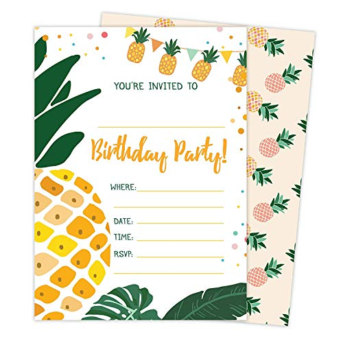 Pineapple 3-25 Invitations &Amp; 25 Thank You Cards Combo Pack Happy Birthday Invite Cards With Envelopes &Amp; Seal Stickers Boys Girls Kids Party
