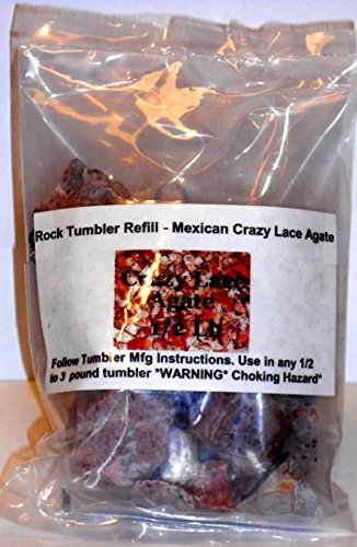 Rock Tumbler Gem Refill Kit Mexican Crazy Lace Agate Rough 8Oz