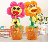 Singing Dancing Saxophone Sunflower Soft Plush Potted Funny Creative Electric Toys Stuffed Toy Animated Dancing Flower Doll Light Music Funny Toys (Random Color)