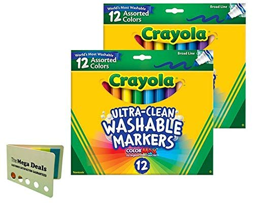 Crayola 12 Ct Ultra-Clean Washable Markers, 2 Pack, Includes 5 Color Flag Set