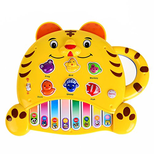 Tiger Keyboard Piano - Zoo Animals Sound Themed- Toddler Musical Instrument,Yellow