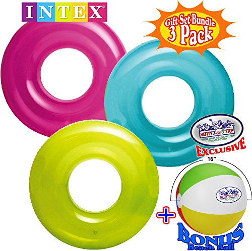 Intex Transparent Inflatable Tubes (30 ) Aqua, Lime &Amp; Pink Complete Gift Set Bundle With Bonus Matty'S Toy Stop 16  Beach Ball -