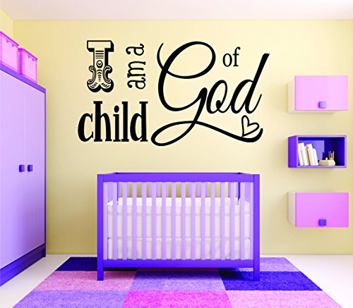 Wall Decal Sale : I Am A Child Of God Kids Baby Boy Girl Bedroom Bible Quote Size: 12 Inches X 18 Inches - 22 Colors Available
