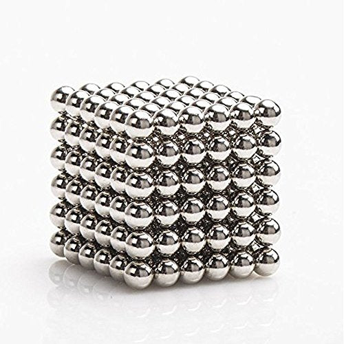 Likee Upgraded 5Mm 216 Pieces Magnets Sculpture Building Blocks Toys For Intelligence Learning -Office Toy &Amp; Stress Relief For Adults (Shiny Silver)