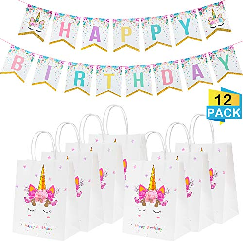 12 Pcs Unicorn Candy Gift Bags And Unicorn Happy Birthday Banner For Unicorn Themed Party, Baby Shower, Kids Birthday Party Supplies