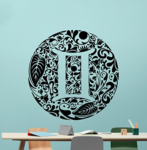 Gemini Wall Decal Astrology Horoscope Gemini Zodiac Sign Vinyl Sticker Cool Wall Art Design Wall Decor Housewares Kids Boy Girl Room Bedroom Decor Removable Wall Mural 24Hor