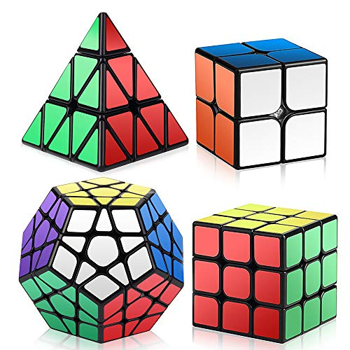 Roxenda Speed Cubes, 2X2X2 3X3X3 Megaminx Pyramid Speed Cube Set - Easy Turning And Smooth Play - Turns Quicker And More Precisely Than Original