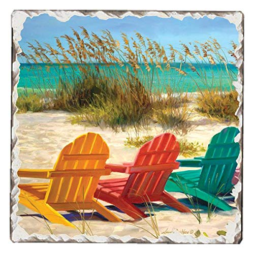 Counterart Single Tumbled Tile Absorbent Coaster, 3 Beach Chairs