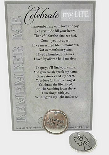 Bereavement/Sympathy/Remembrance/Memorial/Inspirational Keepsake Pewter Coin With  Celebrate My Life  Poem- Thoughtful Offering For Grieving Heart