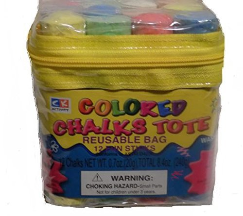 C K Activity Colored Chalks Tote With 12 Fun Sticks Washable With Reusable Tote Bag