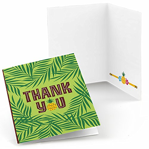 Big Dot Of Happiness Tiki Luau - Tropical Hawaiian Summer Party Thank You Cards (8 Count)