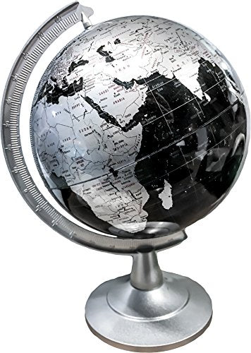 Repologle Globes Silver And Black Desk Globe