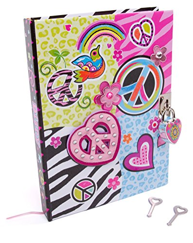 Hot Focus Peace Secret Diary With Lock  7 Journal Notebook With 300 Double Sided Lined Pages, Padlock And Two Keys For Kids