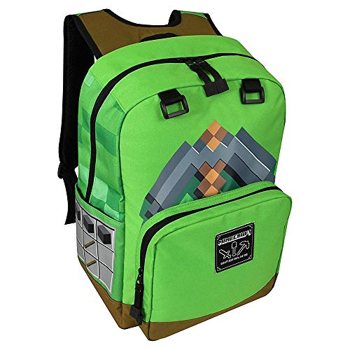 Jinx Minecraft Pickaxe Adventure Kids Backpack (Green, 17 ) For School, Camping, Travel, Outdoors &Amp; Fun (Green, N/A)