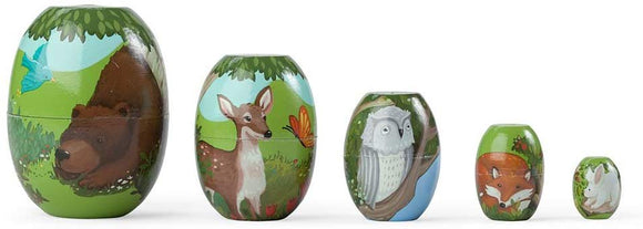 Children'S Set Of 5 Woodland Friends Stackable Wooden Nesting Eggs, 1''-3''H
