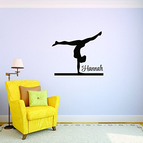 Personalized Custom Name Gymnastics Exercise Balance Beam Sports Team Kids Sticker Vinyl Wall Decal 20 Inches X 40 Inches