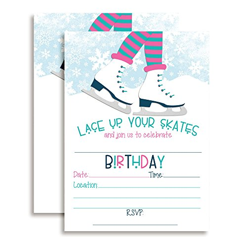 Ice Skating Birthday Party Invitations For Girls, 20 5 X7  Fill In Cards With Twenty White Envelopes By Amandacreation