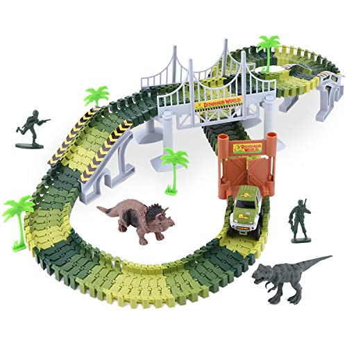 Smibie Kids Toys Car Race Track Set Dinosaur World Railway Set With 142 Track Pieces, 2 Dinosaur, 1 Battery Operated Car, 4 Trees, 2 Slopes, 1 Hanging Bridge As Gift For Kids