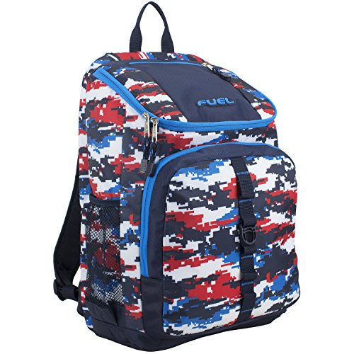 Fuel Wide Mouth Sports Backpack With Laptop Compartment For School, Travel, Outdoors - Navy Blue/Red And White Static Camo Print